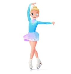 cute smiling young girl figure skating on vector image