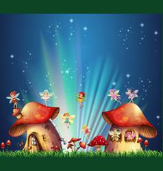 fairies flying over mushroom houses vector image