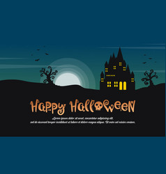 happy halloween with castle at night landscape vector image vector image