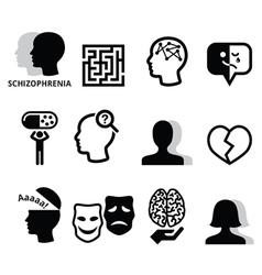 Schizophrenia mental health psychology icons vector image