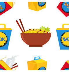 seamless pattern of wok asian chinese food vector image