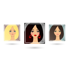 Set of three beautiful girls avatar vector image