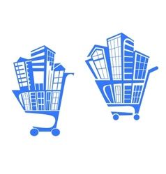 Shopping cart with buildings vector image vector image