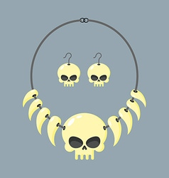 Necklace of skull and tusks beads aboriginal vector