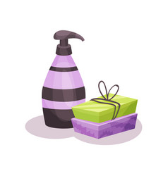 soap bars and bottle of liquid soap with dispenser vector image