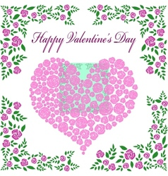 Vintage valentines card with rose heart vector image vector image