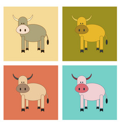 Assembly flat icons kids toy cow vector
