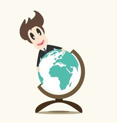 Business man on earth vector image vector image