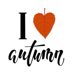 i love autumn i heart autumn hand drawn vector image vector image