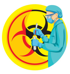 A doctor performs a blood test in biohazard sign vector