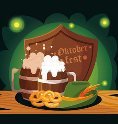 Beer festival oktoberfest with mug and foam vector