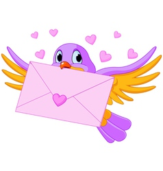 Bird with love letter vector