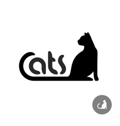 Black cat silhouette with text logo vector