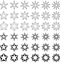 Black star shape set vector
