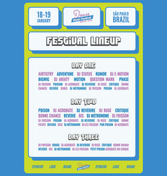 bold festival lineup poster flyer template vector image