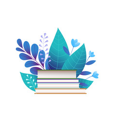 books and blue leaves flat vector image