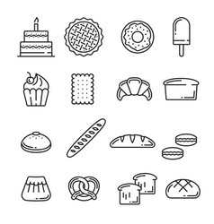 Bread and pastry bakery lineart icons vector