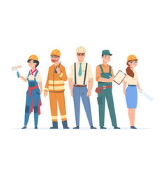 builders and engineers characters construction vector image