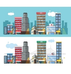 Buildings and city transport flat style vector image