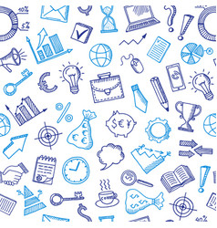 business doodle icons background or pattern vector image