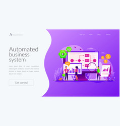Business process automation landing page template vector