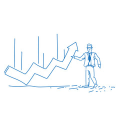 businessman pointing curved line financial arrow vector image