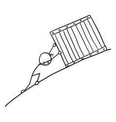 Cartoon man pushing large box up to hill vector