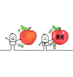 Cartoon men with organic industrial apples vector