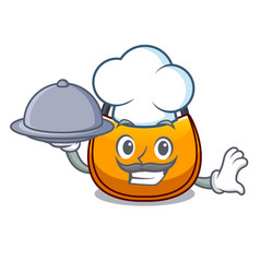 Chef with food hobo bag outline on image cartoon vector