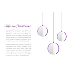 Christmas balls cutted from papaer vector image