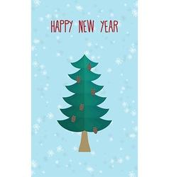 Christmas greeting card Christmas tree Happy new vector image vector image