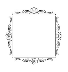 Classic black frame with flowers vector