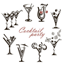 cocktail glasses collection vector image