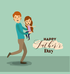 colorful background with dad super hero and girl vector image