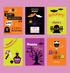 Colorful happy halloween kids invitation cards vector