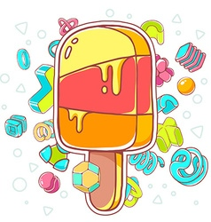 colorful of orange ice cream on white backgr vector image