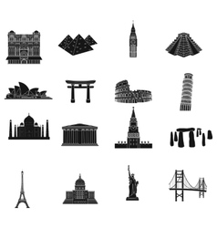Countries set icons in black style Big collection vector