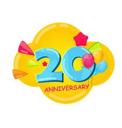 Cute cartoon template 20 years anniversary vector
