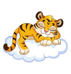 Cute sleeping tiger cartoon character vector