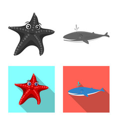 design of sea and animal logo collection vector image