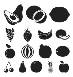 Different fruits black icons in set collection for vector