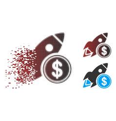 Dispersed pixel halftone dollar rocket icon vector