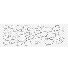 doodle speech and dream bubbles set vector image