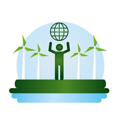 eco friendly planet design image vector image