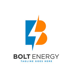 Electric energy logo with letter b vector