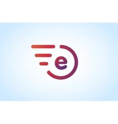 Fast line letter E logo monogram vector