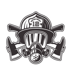 Fireman head in helmet and gas mask vector