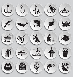 fishing icon set on plates background for graphic vector image