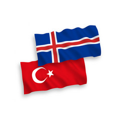 Flags turkey and iceland on a white background vector