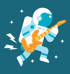 Flat design astronaut playing guitar vector image